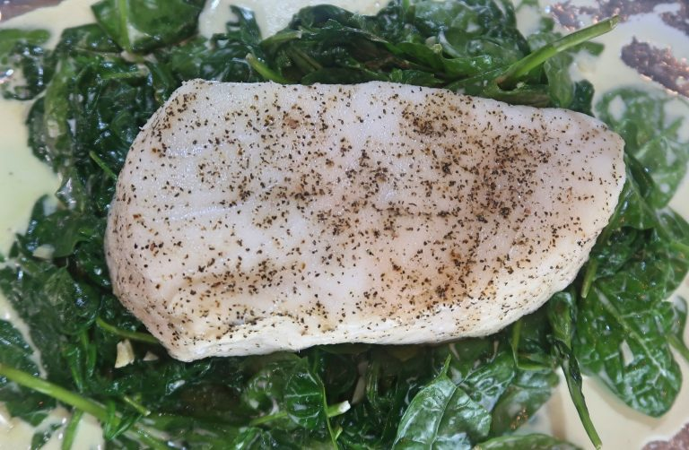 Baked Sea Bass Fillets with Spinach