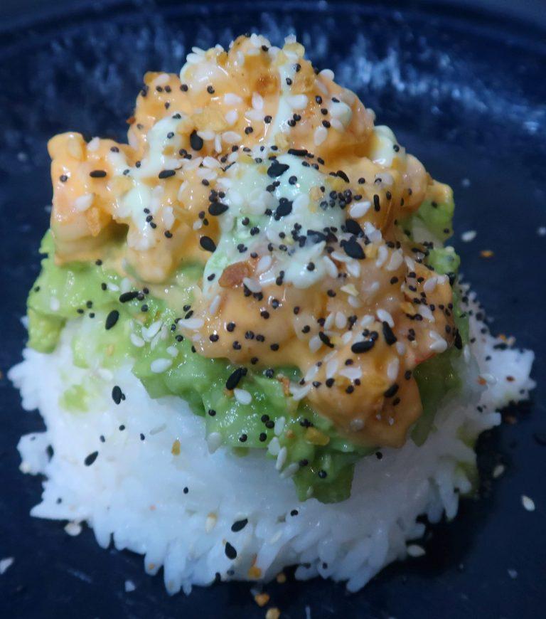 spicy shrimp sushi stack